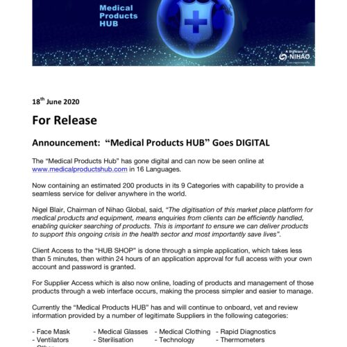 General Media Release - Nihao Global Medical Products HUB 18th June 2020 Final